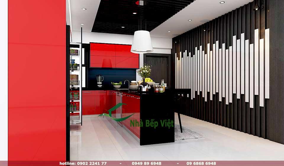 Thi công tủ bếp acrylic chất lượng dựa trên bản thiết kế nhà